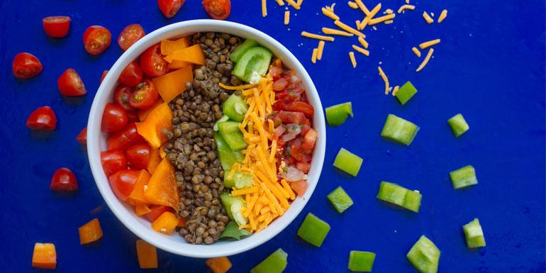Salade de lentilles colorée